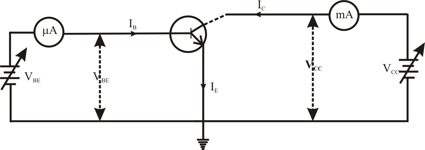 circuit diagram of transistor in common emitter