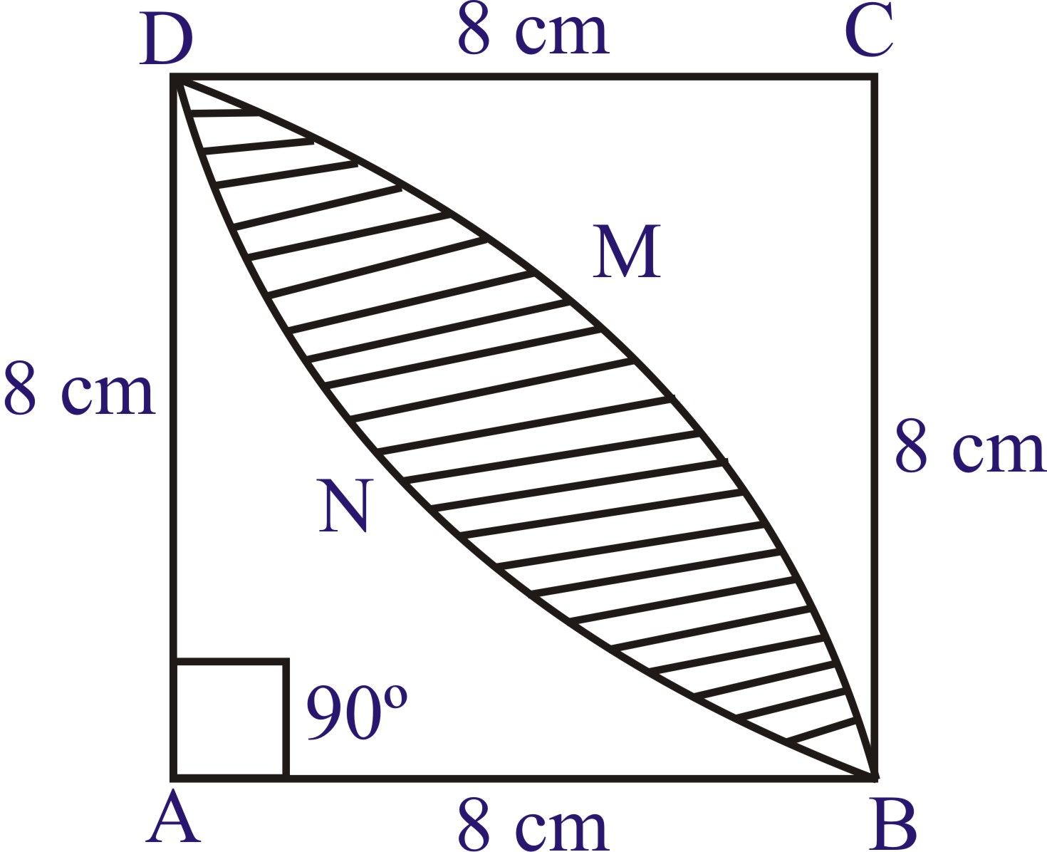 Area Of The Square Abcd [math Processing Error] [math Processing Error]  Area Of The Designed Region = Area Of The Shaded Region