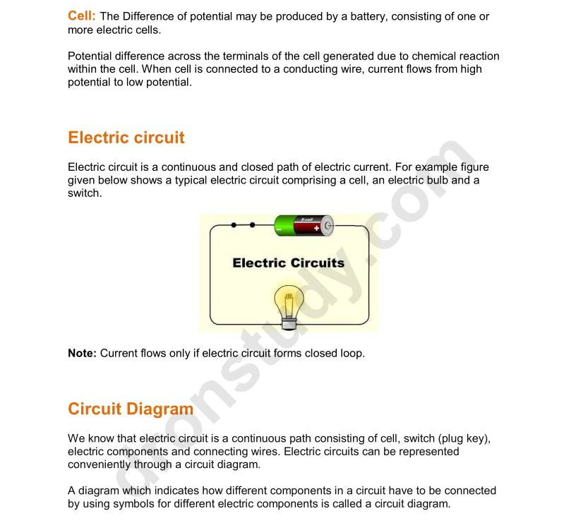 Electricity – Class 10 Science Notes – DronStudy.com
