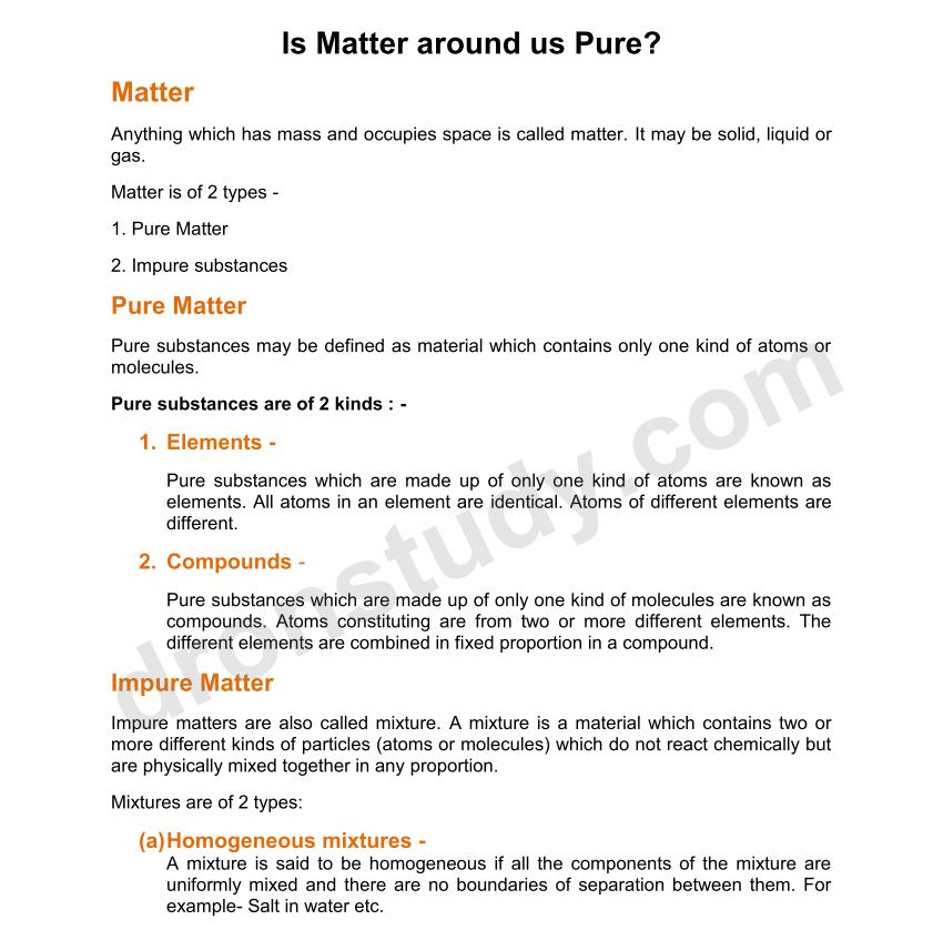 chapter notes is matter around us pure class 9 science dronstudycom