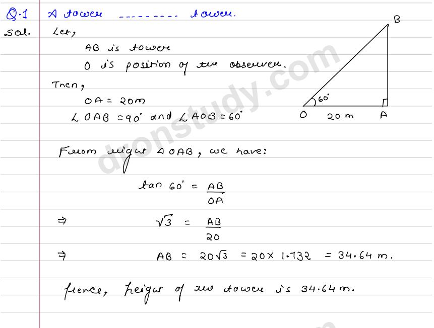 Height And Distance Ex 14rsgarwal Dronstudy