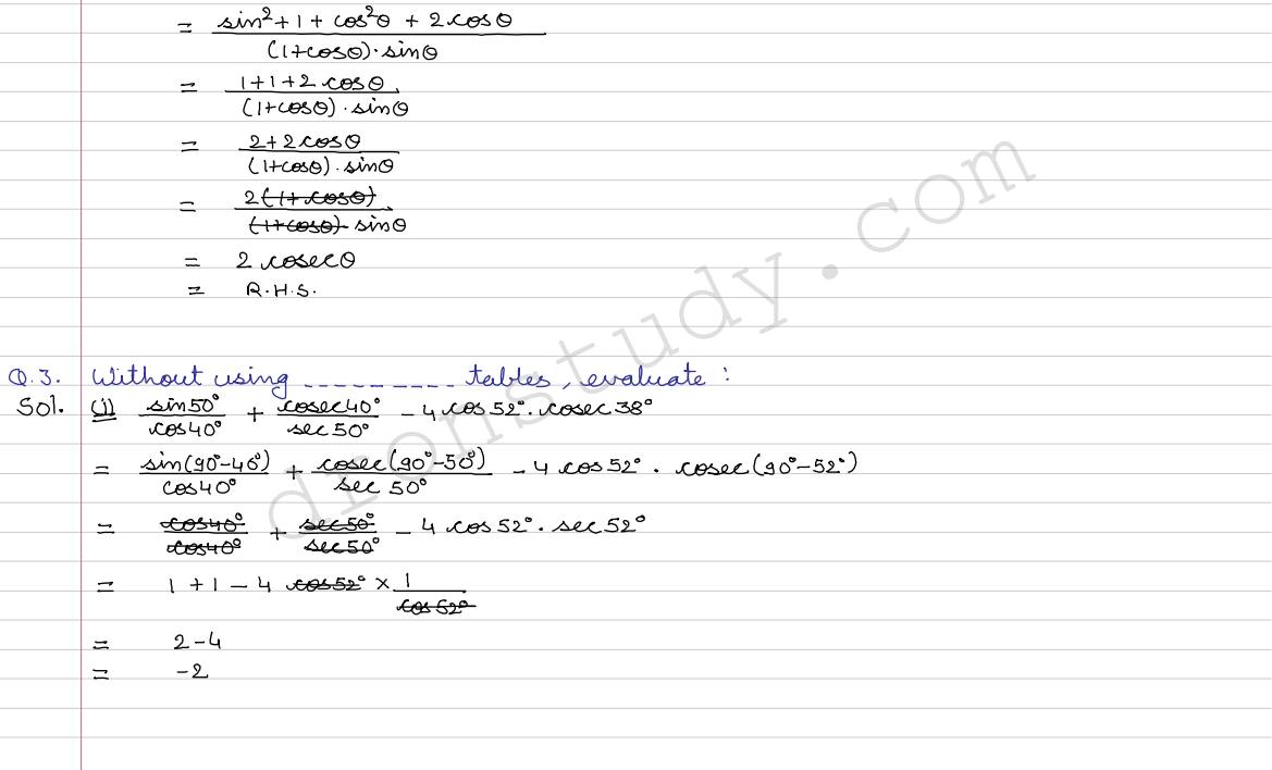 trigonometric ratios of complementary angles pdf