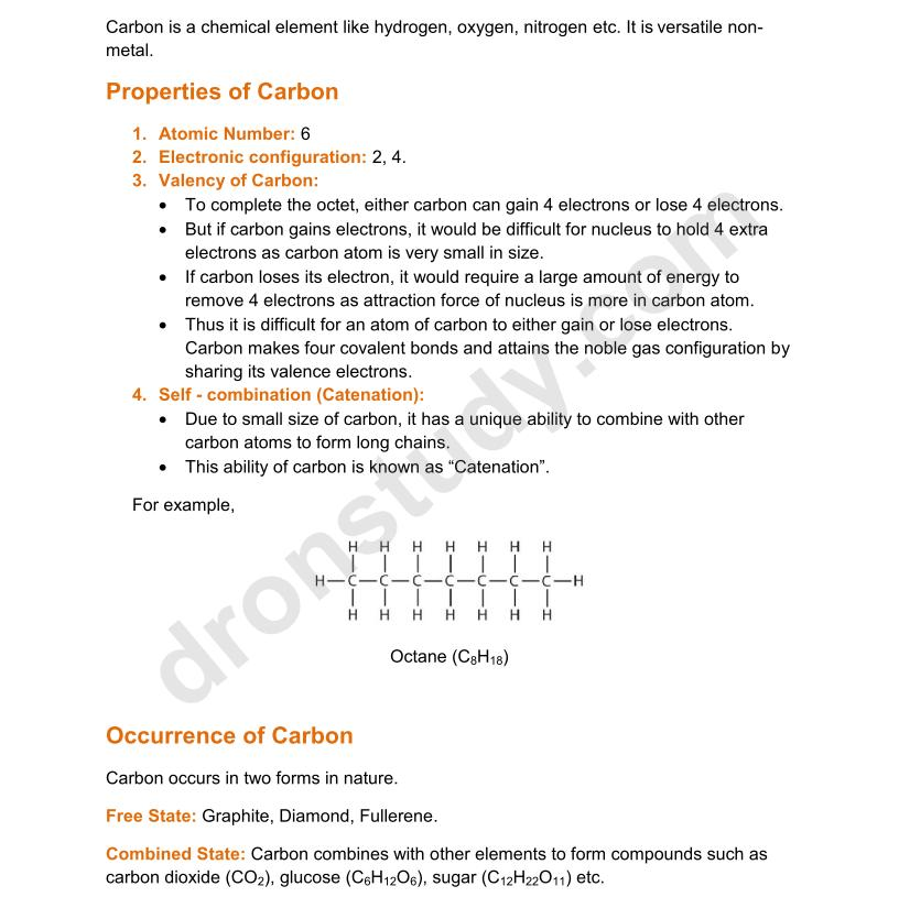 chapter notes carbon and its compounds class 10 science notes