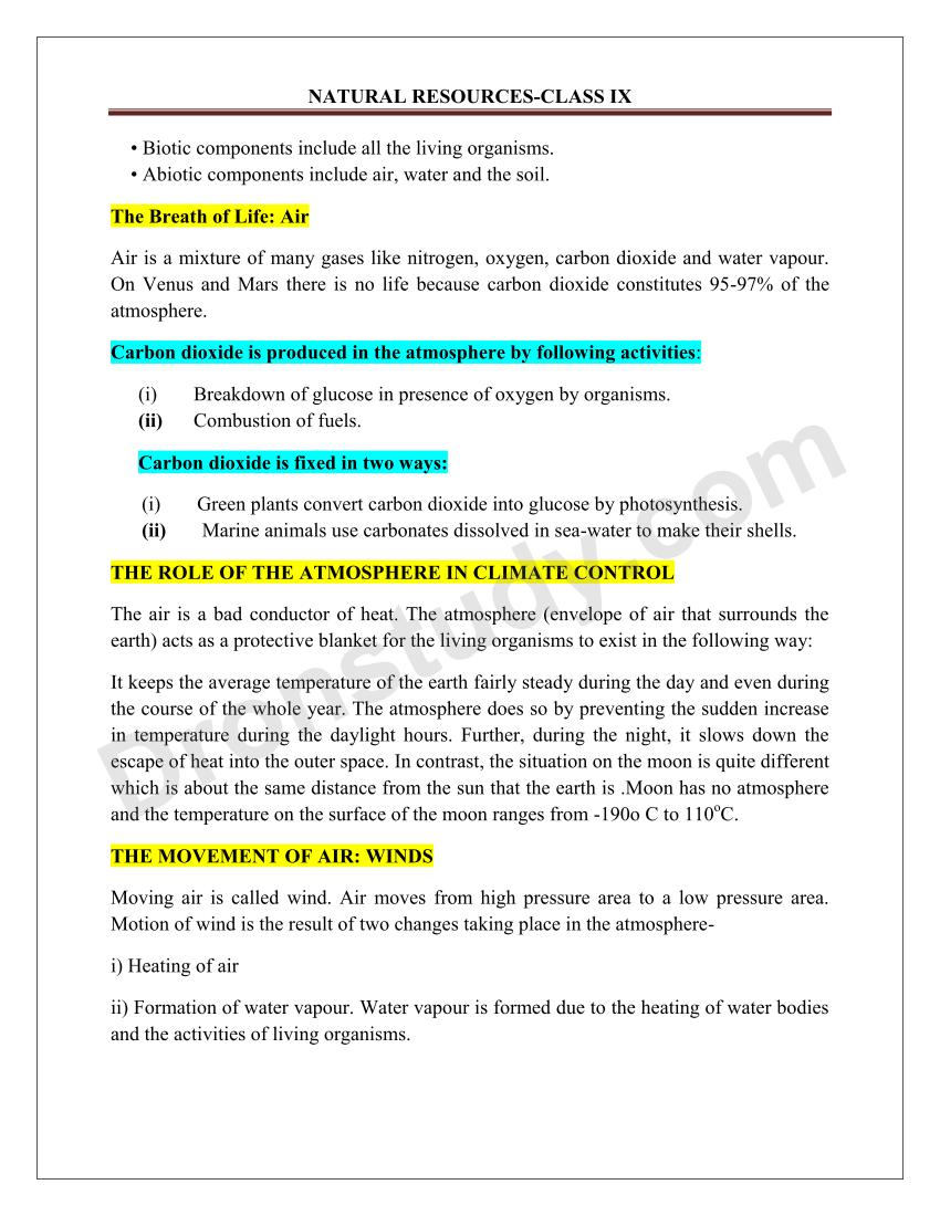 Notes on environment natural resources