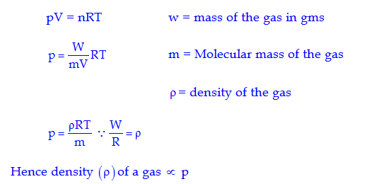 density equation chemistry. q.3 using the equation of state pv \u003d nrt, show that at a given temperature density gas is proportional to pressure p. chemistry y