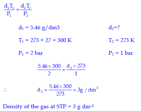 density equation with pressure. q.10 34.05 ml of phosphorus vapour weighs 0.0625 g at 546ºc and 0.1 bar pressure. what is the molar mass phosphorus? density equation with pressure h