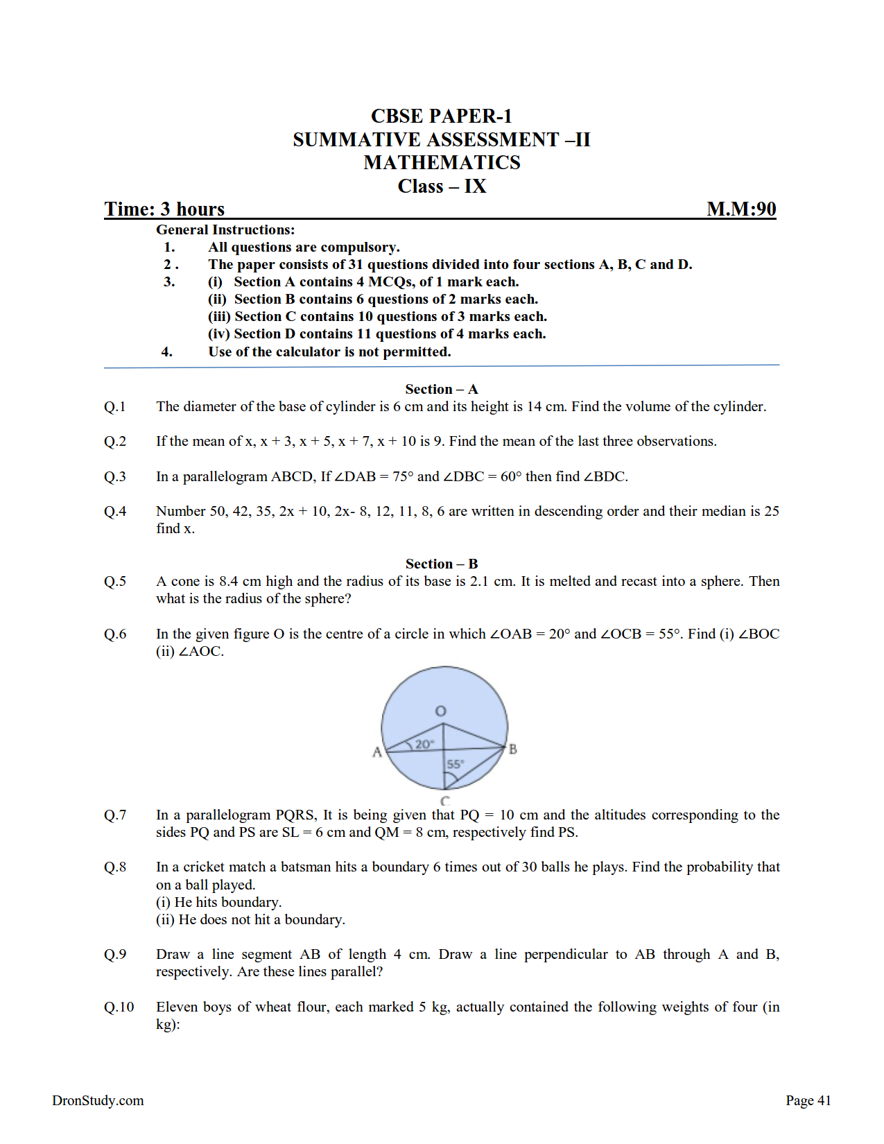 Sample paper for class 9 science - Olympiad Class 9 Sample Previous