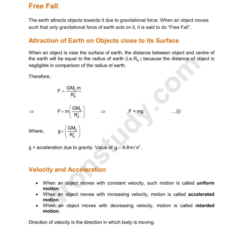 Chapter Notes Gravitation Class 9 Science Dronstudy Com