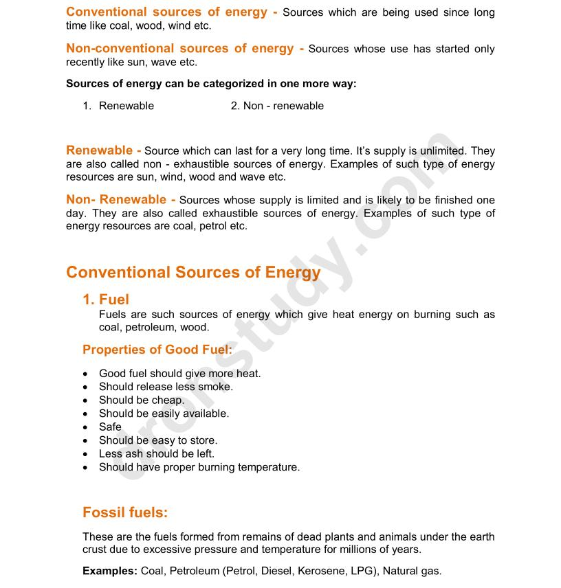 chapter notes sources of energy class 10 science dronstudy com