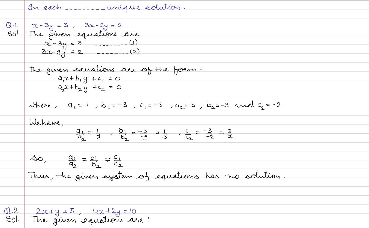 Workbooks solving linear equations with two variables worksheets : Linear Equations In Two Variables Class 10 Worksheet With ...