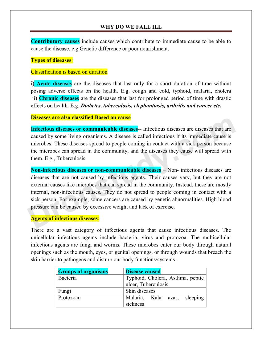 Why Do We Fall Ill Class 9 Notes Pdf