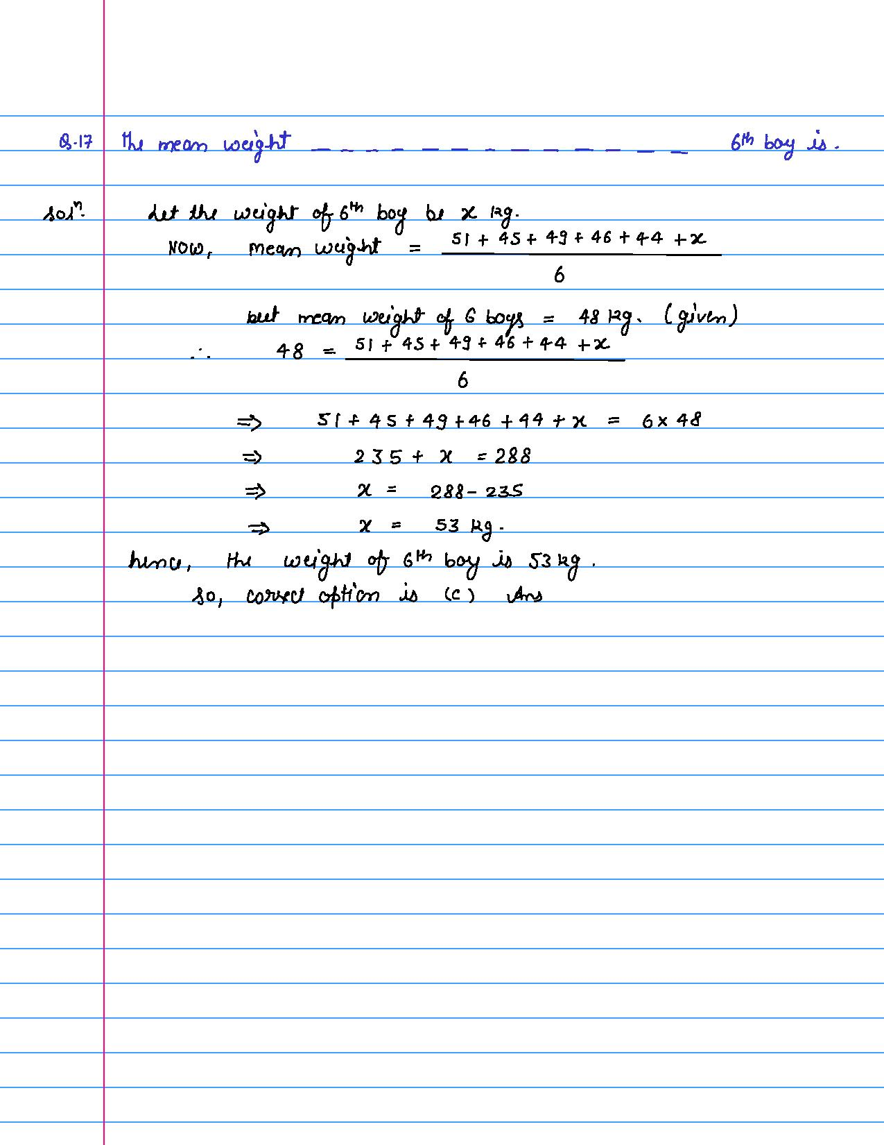 solution of MCQ questions of statistics of class 9th-page-017