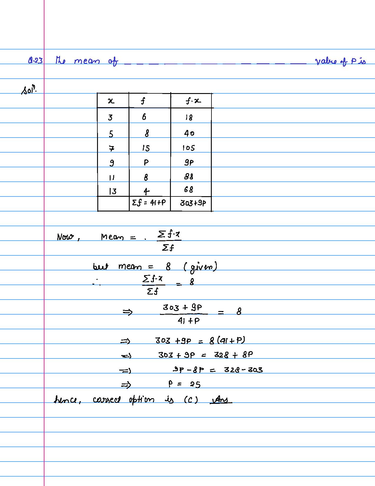 solution of MCQ questions of statistics of class 9th-page-023